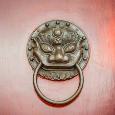 foo dog lion foo dog or lion door knocker on beijing door stock photo image