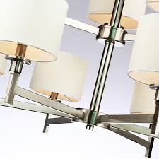 Brushed Nickel Dining Room Light Fixtures by White Shade Brushed Nickel 9 Lights Chandelier At Lightingbox Com