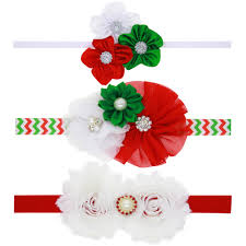 christmas hair accessories 12pcs lot lovely wave chiffon flower christmas hair bows