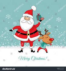 card santa claus deer gift stock vector 510797968