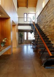 Mahogany Banister Concrete Stair Staircase Contemporary With Black Tread Synthetic