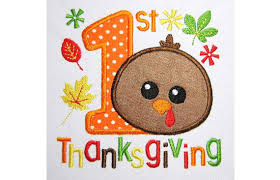 my 1st thanksgiving applique machine embroidery design tg007 from