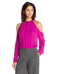 shoulder cut out blouse miller s leigh silk georgette shoulder cut out blouse