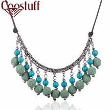 necklace hemp images Wholesale statement necklaces women choker lava stone beads hemp jpg