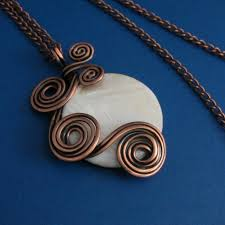 necklace wire images Mother of pearl and copper wire wrapped necklace jewelry makes jpg