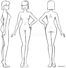 woman body front back and side view in outline wall sticker wall