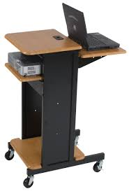 Wooden Laptop Desk by Wooden Standing Laptop Desk On Wheels With Shelves Decofurnish
