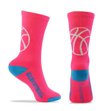 basketball half cushioned crew socks pink blue one size fits most
