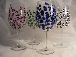painted wine glasses leopard print assorted custom color print