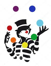 clowns juggling balls clown mime juggling balls colors of the rainbow stock vector