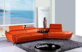 Orange Leather Sectional Sofa Raizel Modern Orange Leather Sectional Sofa W Right Facing Chaise