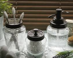 Glass Bathroom Storage Jars Kilner Jar Etsy