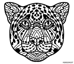 monochrome ink drawing painted jaguar on white