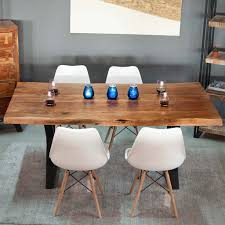 dining set with live edge table in x legs and white eames chairs
