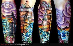 new amazing light house u0026 pirate ship sleeve tattoos photos