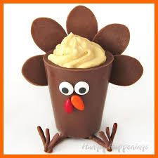 chocolate turkey cups filled with pumpkin cheesecake mousse