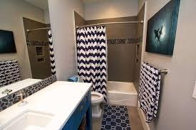 chevron bathroom ideas shark themed bathroom with navy blue and white chevron shower