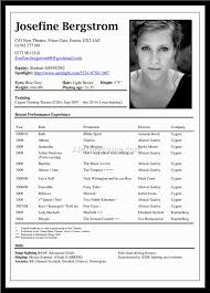 Example Of Actor Resume by 100 Example Of An Acting Resume Resume Pages Resume