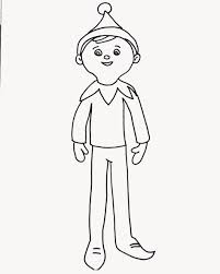 christmas elf on the shelf coloring page for elfie and kids to