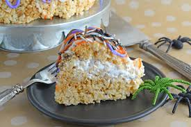 homemade halloween cake halloween rice krispie treat cake savory experiments