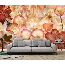 ideal decor floral wall murals wall decor the home depot h dried flowers wall mural