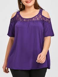 purple blouse plus size t shirts purple 4xl plus size lace insert flowy gamiss
