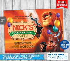 lion king birthday invitation with thank you card by