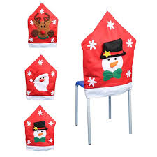 Christmas Chair Back Covers New Styles Santa Claus Snowman Elk Hat Christmas Chair Cover Seat