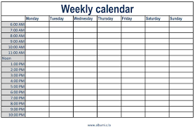 weekly calendar with time slots printable 2017 calendars