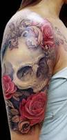 skull and roses tattoo on half sleeve tattooimages biz
