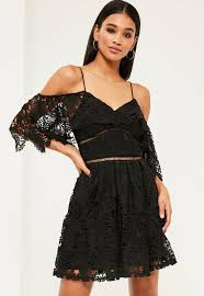 black lace cold shoulder skater dress missguided