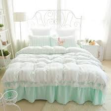 romantic girls lace bedding striped fashion princess bed set for