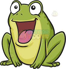 a delighted frog cartoon clipart vector toons