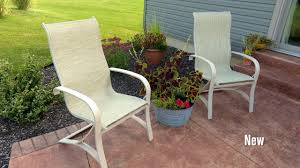 How To Repair Patio Chair Seats How To Replace Fabric On A Patio Sling Chair Youtube