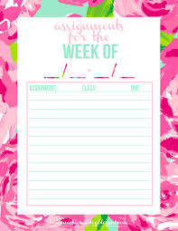 lauren ashleigh free printable assignment tracker in first