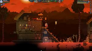 randomly generated wooden glitch bases on a volcanic planet just