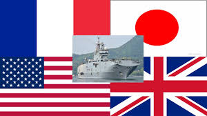 French And American Flags American Japan British French Naval Exercises Show Strength In