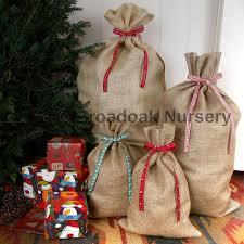 christmas hessian sack u0026 ribbon gift bag stocking santa broadoak
