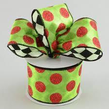 sided ribbon 2 5 polka dot harlequin 2 sided ribbon lime 10 yards