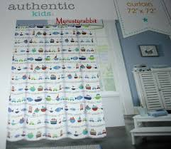 Kids Fabric Shower Curtain - authentic kids fabric shower curtain boats u0026 cars cotton blend
