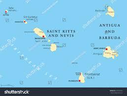 Map Of Caribbean Sea Islands by Saint Kitts Nevis Antigua Barbuda Montserrat Stock Vector