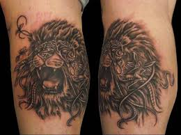 male lion leg tattoo design real photo pictures images and