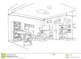 furniture clipart for floor plans kids room sketch in black and white stock illustration image