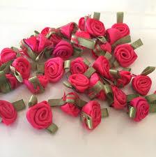 satin roses 20 hot pink ribbon roses satin ribbon roses hot pink satin roses