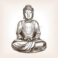 buddha statue sketch style illustration old engraving imitation