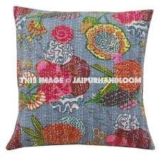 24x24 Decorative Pillows 24x24 Indian Kantha Throw Pillows Indian Decorative Pillow Covers