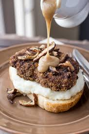 turkey burgers in mushroom gravy crispy fried meatloaf patty sandwich smothered in mushrooms and gravy