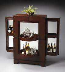 apartments contemporary dark wood bar cabinet design with 2 round