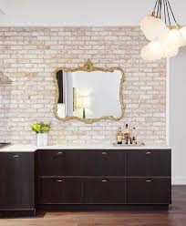 how to whitewash brown cabinets brown flat front kitchen cabinets with whitewashed brick