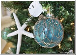 glass float ornaments sand and sisal